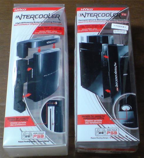 左がこの夏に勝負する INTERCOOLER for PS3 で、右側が今までの INTERCOOLER TS for PS3.JPG